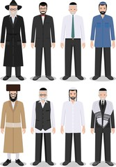 Set of different standing jewish old and young men in the traditional clothing isolated on white background in flat style. Differences Israelis in the national dress. Vector illustration.