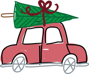 Christmas Tree on top of a Car