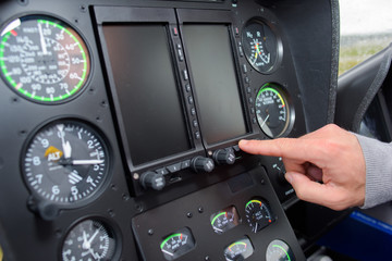 Hand on cockpit controls