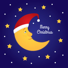 """Holiday greeting card. Vector cartoon illustration of a half moon in a Santa hat among stars. Dark blue background, text """"Merry Christmas"""". Square format."""