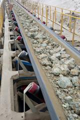 Mining of copper. Belt conveyor.