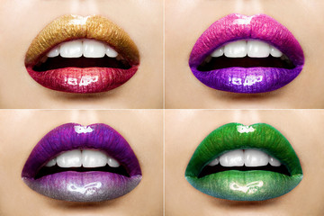 Set of beautiful female lips with a colorful lipstick