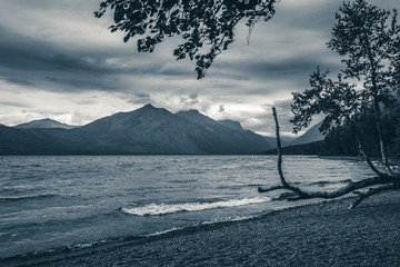Lake McDonald on an overcast day. Black and white.