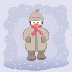 Happy  penguin in coat, hat and scarf
