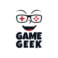 game geek gaming freak fan logo logotype theme cartoon face