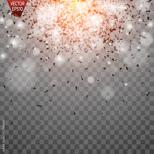 Light Effect Sun Rays Beams On Transparent Background Vector Illustration