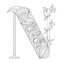 Black line letter N with doodle floral ornament. Coloring page. Vector illustration for tattoo. Decorative element.