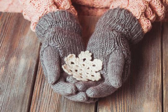 Close-up hands in glove