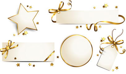 Etiketten und Karten Set mit goldener Schleife und Sternen