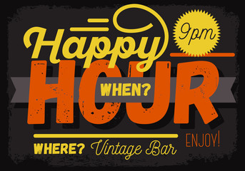 Happy Hour. New Vintage Headline Sign Design With A Banner Ribbo