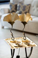 Goldene Tischlampen Ginkgo