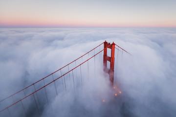 Golden Gate Bridge Aerial Fog