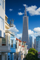 Wall Mural - San Francisco downtown. Famous typical buildings in front. California theme.