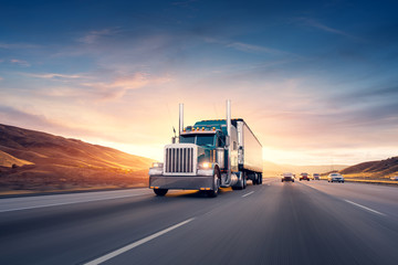 American style truck on freeway pulling load. Transportation the Wall mural