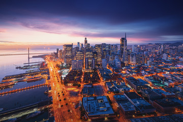 Wall Mural - San Francisco panorama at sunrise with waterfront and downtown. California theme background. Art photograph.