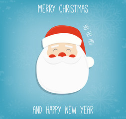 Christmas background with Santa Claus. Merry Christmas and Happy New Year wishes. Vector