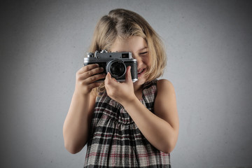 Young photographer at work