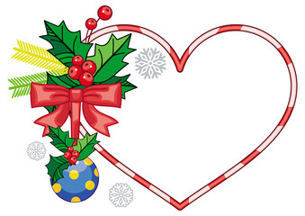 Heart-shaped frame with Christmas decorations. Holiday design element.