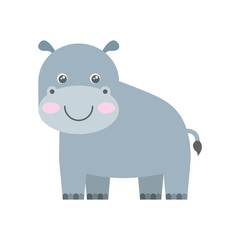 cute hippo animal isolated icon vector illustration design
