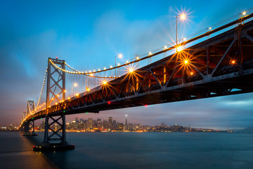 Bay Bridge San Francisco Night Skyline