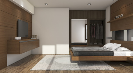 3d rendering nice contemporary wood bedroom with tv and closet