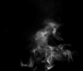 Smoke steam on black background
