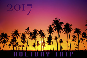 "New Year 2017 concept - Silhouetted of coconut tree during sunrise with word ""Holiday Trip"""