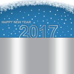 Happy New Year 2017. Calendar design typography vector. metallic design with shadows.
