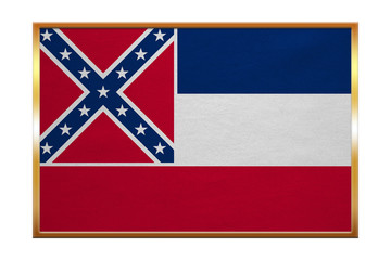 Flag of Mississippi , golden frame, fabric texture