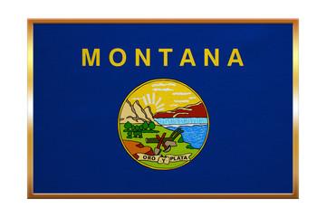 Flag of Montana , golden frame, fabric texture