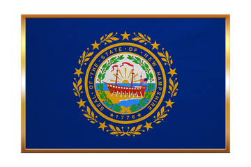 Flag of New Hampshire, golden frame fabric texture