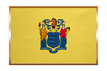 Flag of New Jersey , golden frame, fabric texture