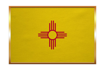 Flag of New Mexico , golden frame, fabric texture