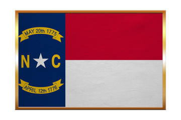 Flag of North Carolina golden frame fabric texture
