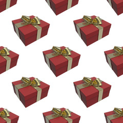 Colorful and striped red boxes with gifts tied bows on white background. 3d illustration seamless pattern background
