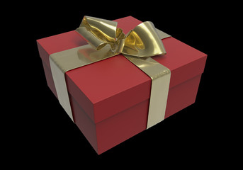 Striped red Present box with gifts tied golden bow on black background. 3d illustration