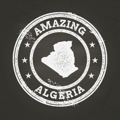 White chalk texture vintage stamp with People's Democratic Republic of Algeria map on a school blackboard. Grunge rubber seal with country map outline, vector illustration.