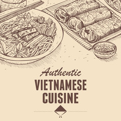 Hand drawn of Vietnamese fresh spring rolls and beef noodles