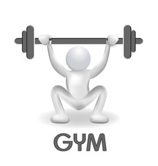 Logo fitness gym squat exercise vector
