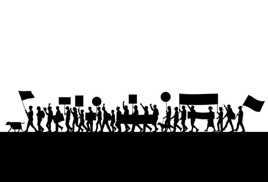 Group of protesters silhouette