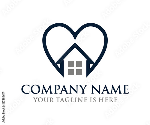 Line Love House Home Roof Windows Symbol Icon Logo