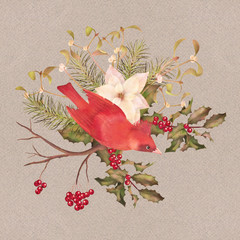 Christmas Watercolor Decorative Composition