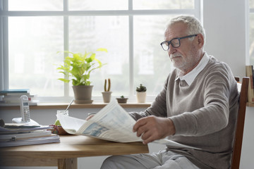 SEnior Adult Readding Newspaper Leisure Concept