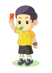 Referee give a card cartoon vector illustration