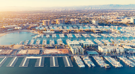 Aerial view of the Marina del Rey harbor in LA