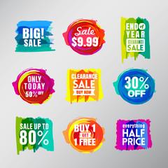 Set of colorful sale labels balloon speech bubbles design elemen