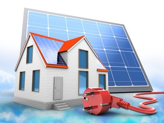 3d illustration of modern house over clouds background with solar panel and power cord