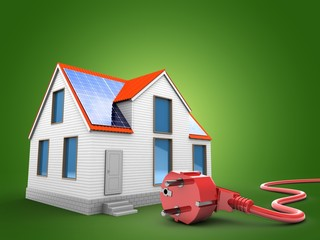 3d illustration of modern house over green background with power cord