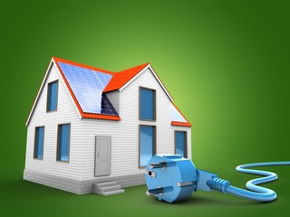 3d illustration of modern house over green background with power cable