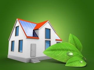 3d illustration of modern house over green background with green leaf